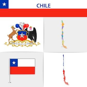 Carte et armoiries du drapeau du chili