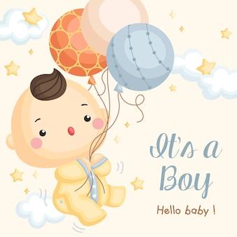 Carte d'arrivée ballon bébé garçon