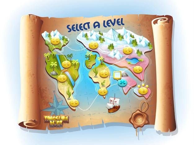 Carte d'art coloré de vecteur continent de la chasse au trésor