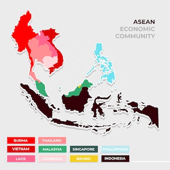 Carte asean design plat