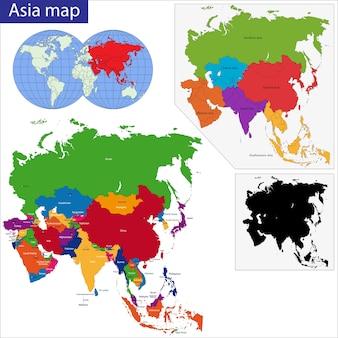 Carte de l'asie colorée