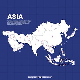 Carte de l'asie dans le style plat