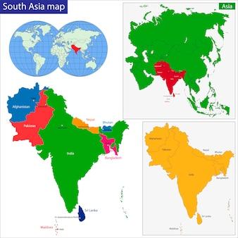 Carte de l'asie du sud