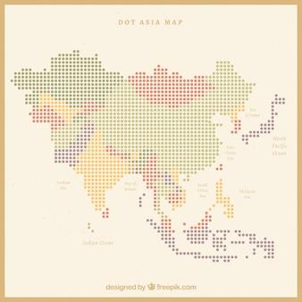 Carte de l'asie avec des points de couleurs