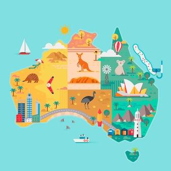 Carte de l'australie monuments colorés