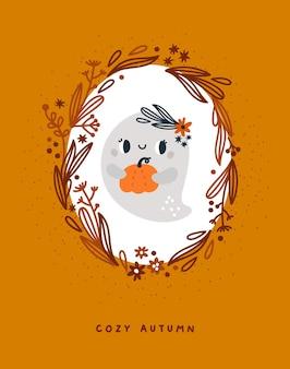 Carte d'automne avec fantôme de dessin animé mignon avec citrouille dans une couronne de feuilles courge orange d'automne