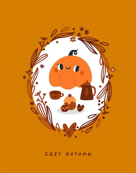 Carte d'automne avec des gâteaux de thé à la citrouille de dessin animé une couronne de feuilles illustration happy halloween