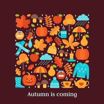 Carte d'automne. illustration. fond avec des éléments d'automne au design plat.