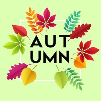 Carte d'automne moderne à la mode avec des feuilles d'automne lumineuses pour la conception d'affiches, de dépliants, de bannières