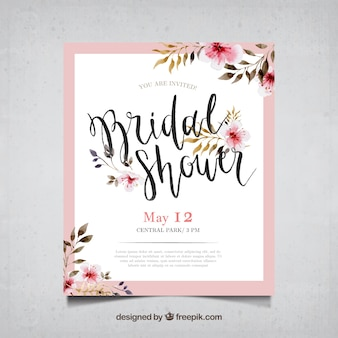 Carte de bachelorette avec des fleurs à l'aquarelle