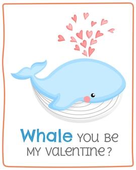 Carte de baleine mignonne pour la saint-valentin