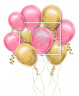 Carte de ballons happy valentine day
