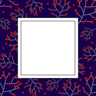 Carte de bannière aux baies rouges et bleu marine