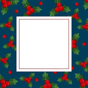 Carte de bannière aux baies rouges noires sur bleu indigo