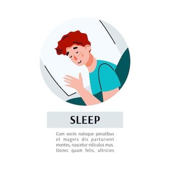 Carte ou bannière avec homme endormi et inscription de sommeil à plat