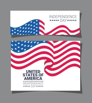 Carte et bannière d'indépendance des etats-unis