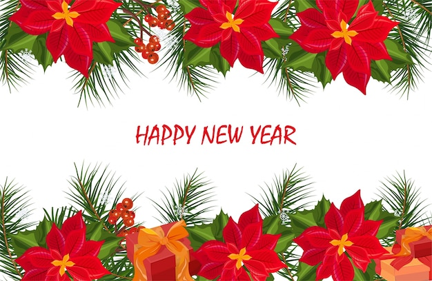 Carte de bannière de noël de fleurs de poinsettia. milieux festifs rétro