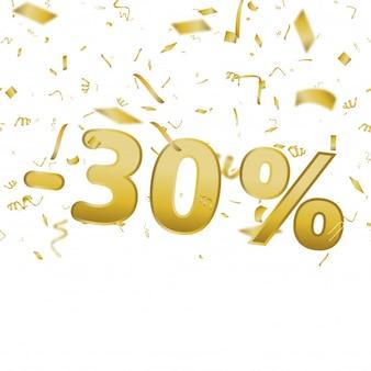 Carte de bannière de vente avec 30 pour cent et des confettis d'or