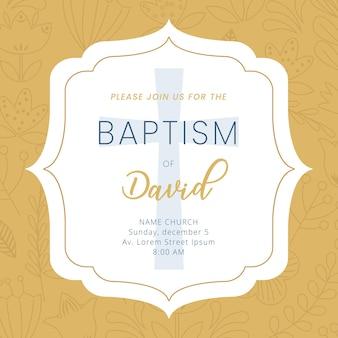 Carte de baptême, avec cadre et informations sur le baptême