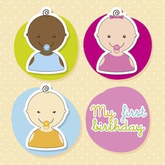 Carte de bébé au cours de l'illustration vectorielle sur fond beige