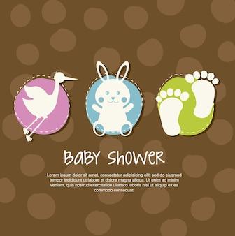 Carte de bébé au cours de l'illustration vectorielle fond marron