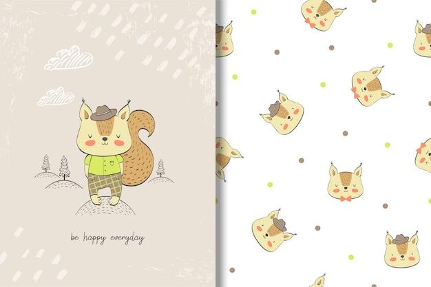 Carte de bébé écureuil mignon et modèle sans couture.