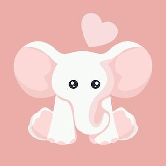 Carte bébé éléphant pour la saint-valentin