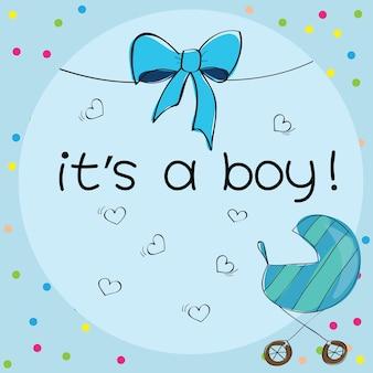 Carte bébé - c'est un thème garçon - avec poussette