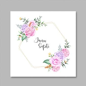 Carte de belle fleur cadre aquarelle