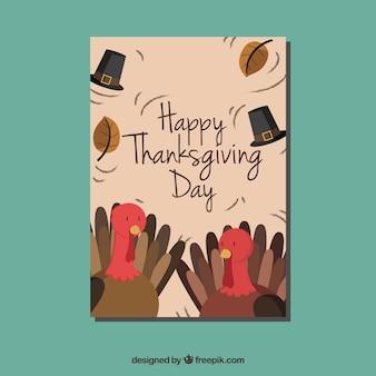 Carte avec de belles dindes thanksgiving