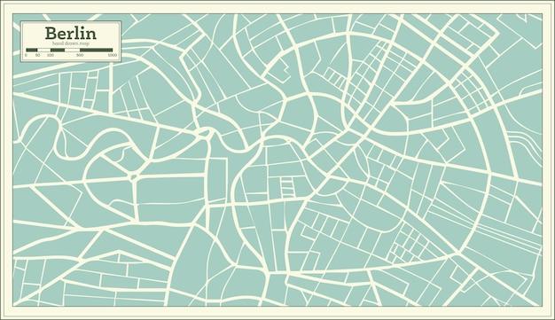 Carte de berlin allemagne dans un style rétro. illustration vectorielle.