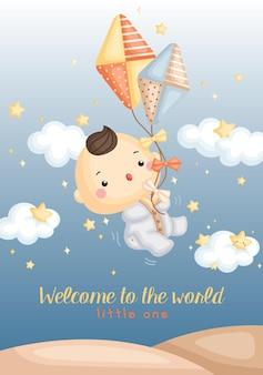Carte de bienvenue bébé garçon cerf-volant
