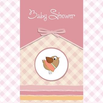 Carte de bienvenue pour bébé fille avec petit oiseau drôle