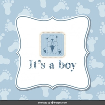Carte bleue de baby shower avec ours en peluche
