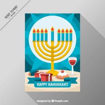 Carte bleue de hanoucca avec candélabre et verre de vin