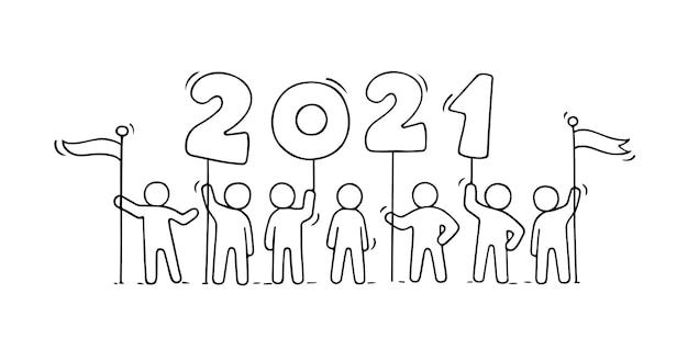 Carte de bonne année 2021. illustration de dessin animé de doodle avec des gens liitle se préparent à la célébration. dessiné à la main.