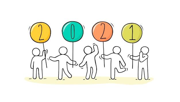 Carte de bonne année 2021. illustration de dessin animé de doodle avec des gens liitle se préparent à la célébration. illustration vectorielle dessinés à la main.