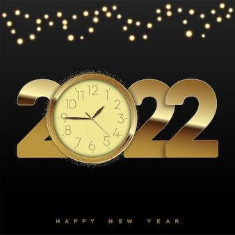 Carte de bonne année 2022 avec horloge dorée et guirlandes. vecteur