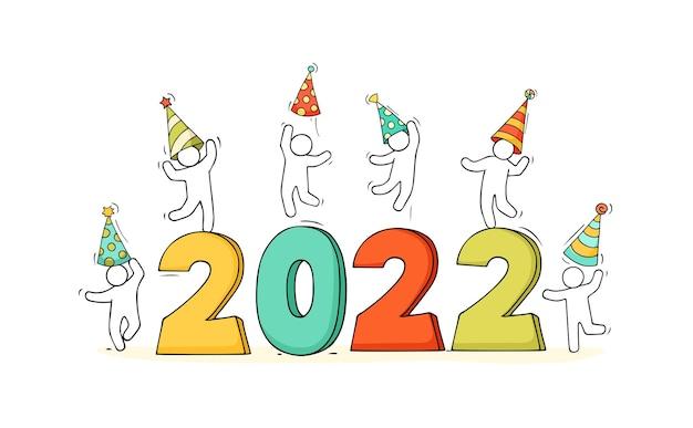 Carte de bonne année 2022. illustration de dessin animé doodle avec peu de gens se préparent à la célébration.
