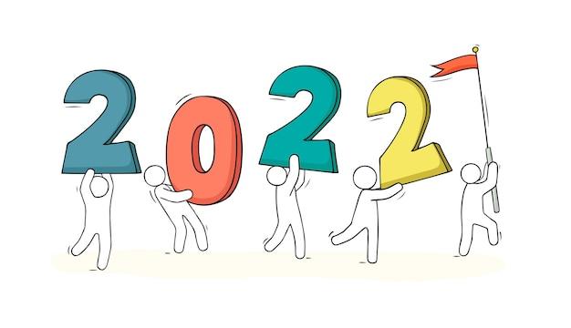 Carte de bonne année 2022. illustration vectorielle dessinés à la main.