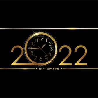 Carte de bonne année 2022 avec montre dorée sur fond noir. vecteur.