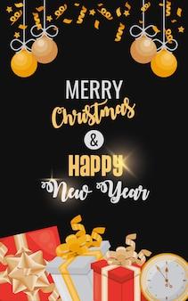 Carte de bonne année avec des cadeaux et des balles suspendus