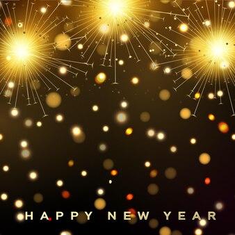 Carte de bonne année avec feux d'artifice. vecteur