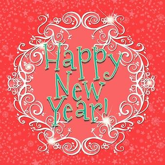 Carte de bonne année avec fond rouge