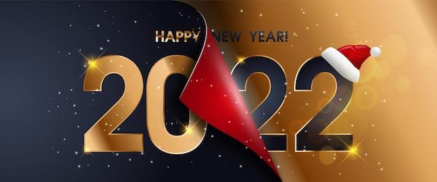 Carte de bonne année en or bleu 2022 avec dégradé de papier premium, fond sombre. design riche et festif pour carte de vœux, invitation, affiche de calendrier.