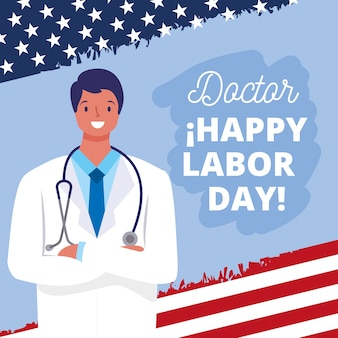 Carte de bonne fête du travail avec illustration de dessin animé de médecin