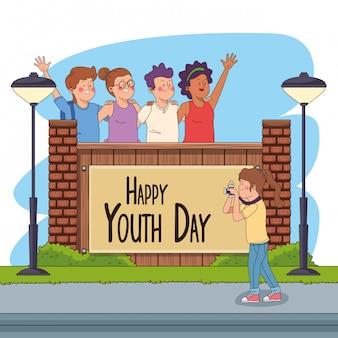 Carte de bonne fête de la jeunesse avec des dessins animés d'adolescents
