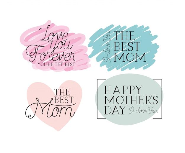 Carte de bonne fête des mères définie des messages de calligraphie