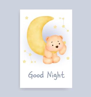 Carte de bonne nuit avec un joli ours en peluche sur la lune