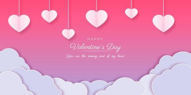 Carte De Bonne Saint Valentin Sur Papier Style Vecteur gratuit